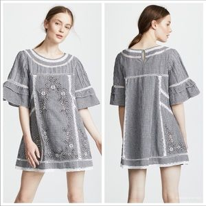 Free People Sunny Days Embroidered Gingham Dress M